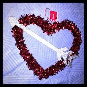 ♥️🆕 Red Tinsel Heart with Silver Glitter Arrow